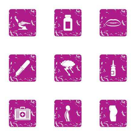 Body treatment icons set, grunge style