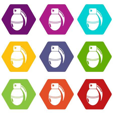 Paintball grenade ammunition icons 9 set coloful isolated on white for web Illustration