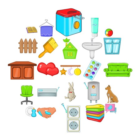 Soft towel icons set, cartoon style
