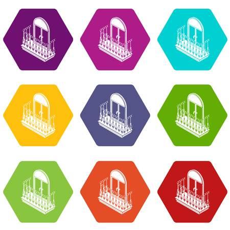 Metal balcony icons set 9 vector
