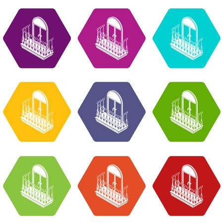 Metal balcony icons set 9 vector