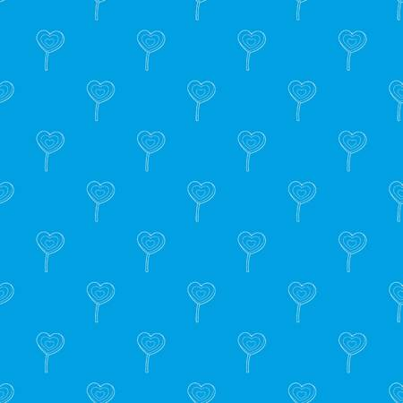 Lollipop heart pattern vector seamless blue