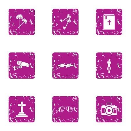 Bury icons set, grunge style
