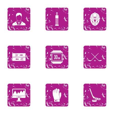 Sport pulse icons set, grunge style Illusztráció