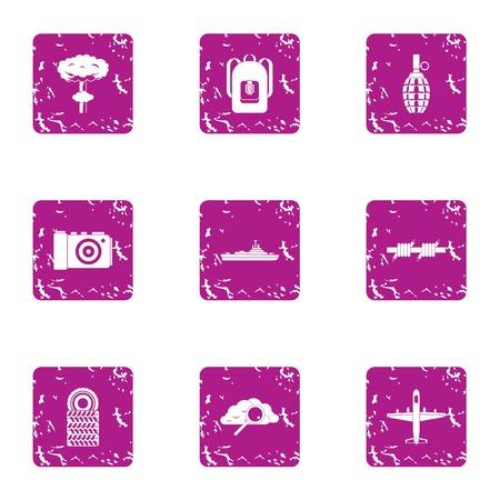 Military science icons set, grunge style Illusztráció