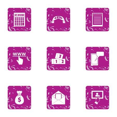 Handbag of cash icons set, grunge style