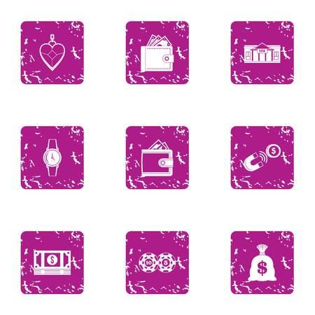 Bribery icons set, grunge style