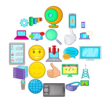 Secret information icons set, cartoon style