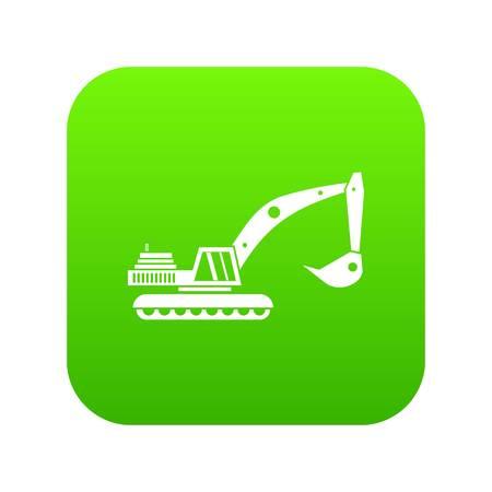 Excavator icon digital green