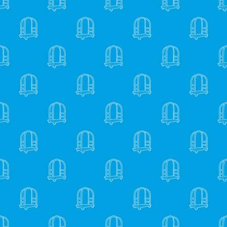 Cart in hotel pattern vector seamless blue