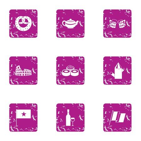 Privilege icons set, grunge style