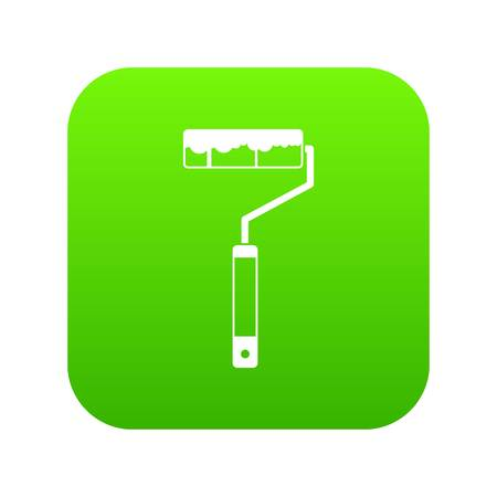 Paint roller icon digital green Illustration