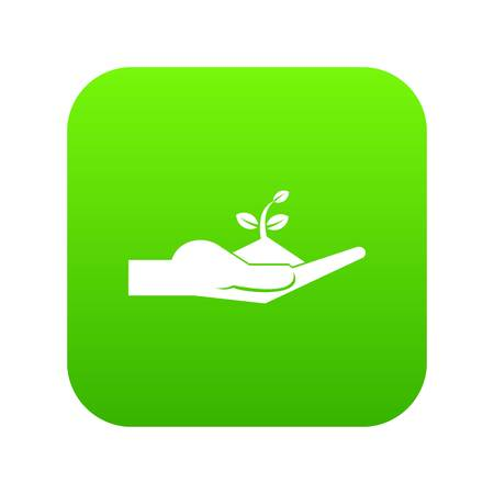 Sprout in the human hand icon digital green Illustration