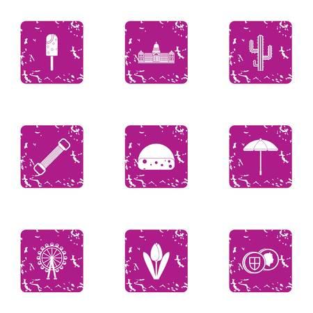 Warm state icons set, grunge style Illustration