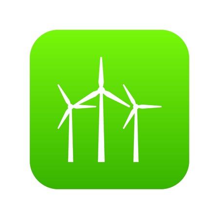 Wind turbines icon digital green