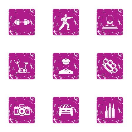 Sport kick icons set, grunge style Stock Illustratie