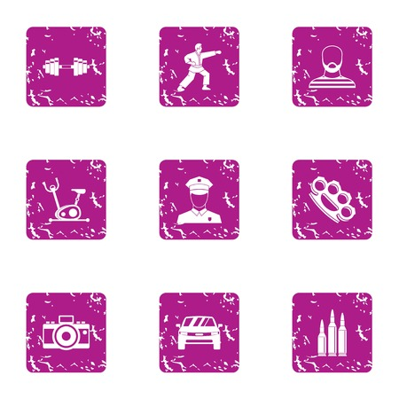 Sport kick icons set, grunge style Vectores