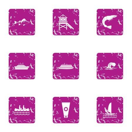 Plage icons set, grunge style