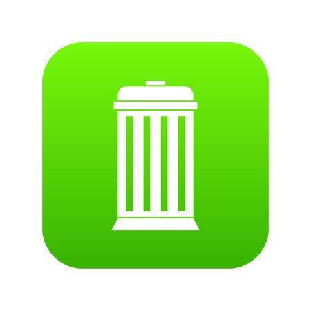 Trash can icon digital green
