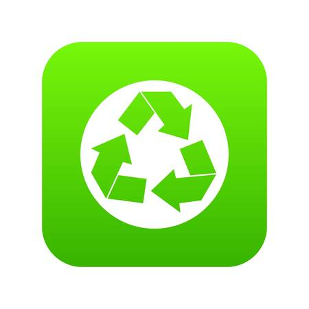 Recycle sign icon digital green