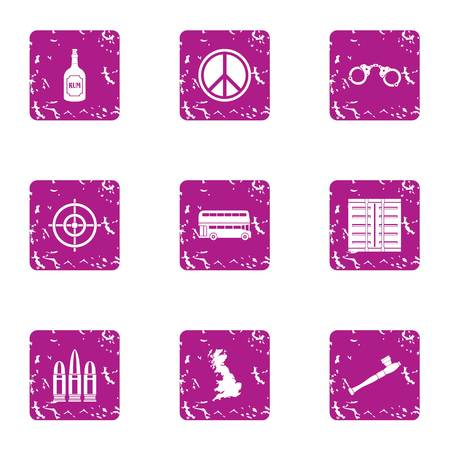 Peaceful solution icons set, grunge style