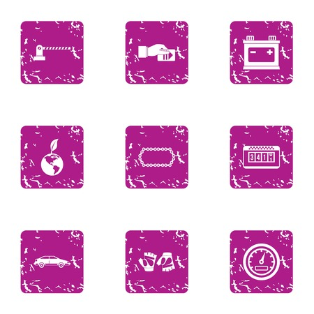 Parking protection icons set, grunge style Vettoriali