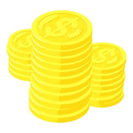 Dollar coins icon, isometric style
