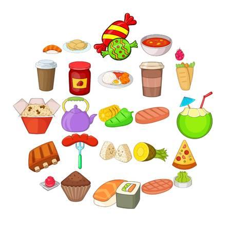 Fried food icons set, cartoon style