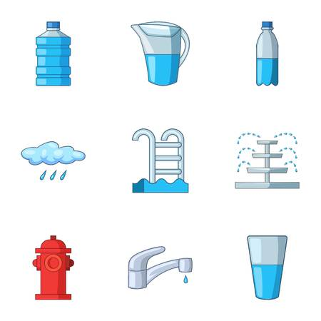 Pour icons set, cartoon style Stock Illustratie