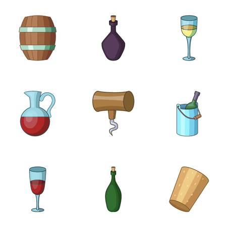 Ethanol icons set, cartoon style