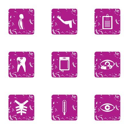 Shell icons set, grunge style