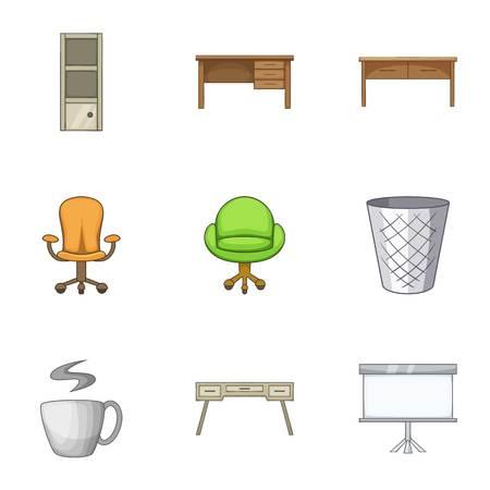 Bureau icons set, cartoon style  イラスト・ベクター素材