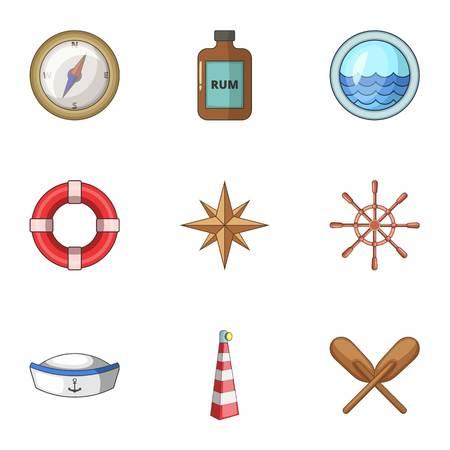 Seafarer icons set, cartoon style