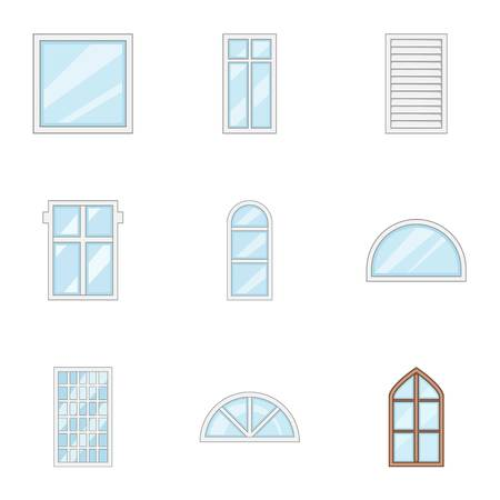 Glass painting icons set, cartoon style