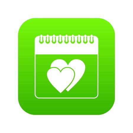 Wedding date day on calendar icon digital green