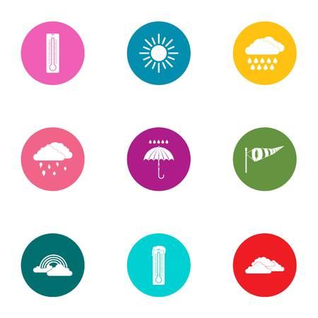 Diversiteit weerpictogrammen instellen, vlakke stijl Vector Illustratie
