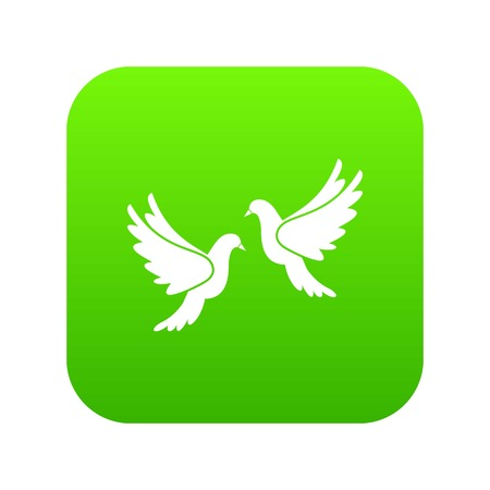Wedding doves icon digital green