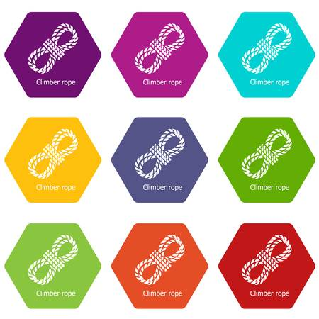 Climber rope icons 9 set coloful isolated on white for web