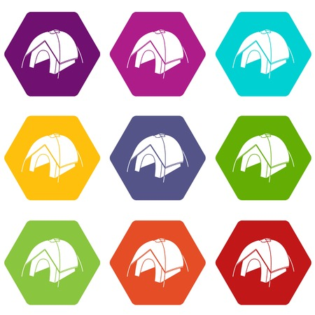 Tent icons 9 set coloful isolated on white for web