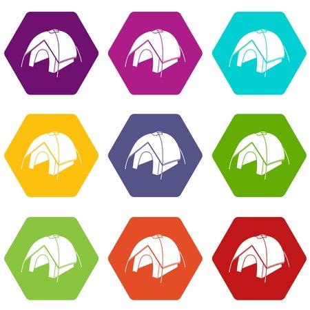 Conjunto de iconos de tienda 9 coloful aislado en blanco para web