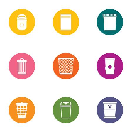 Waste material icons set, flat style