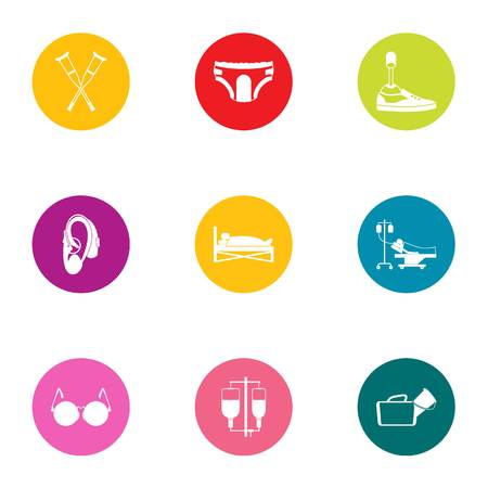 Handicapped icons set, flat style