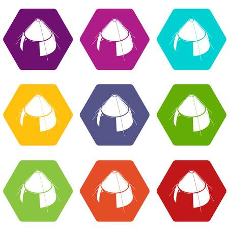 Conic tent icons set 9 vector