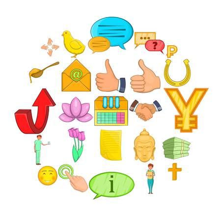 Sacrificing icons set, cartoon style