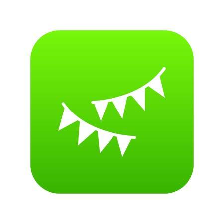 Holiday flags icon digital green Illustration