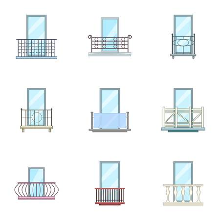 Panel icons set, cartoon style Stock Illustratie