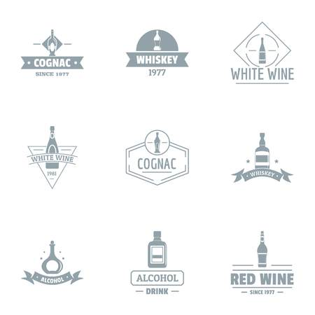 Alcohol consumption logo set, simple style