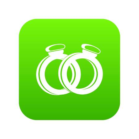 A pair of gold wedding rings icon digital green