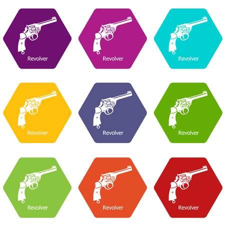 Revolver icons set 9 vector