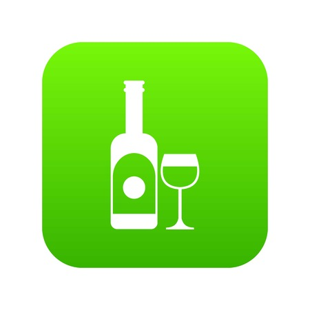 Wine and glass icon digital green
